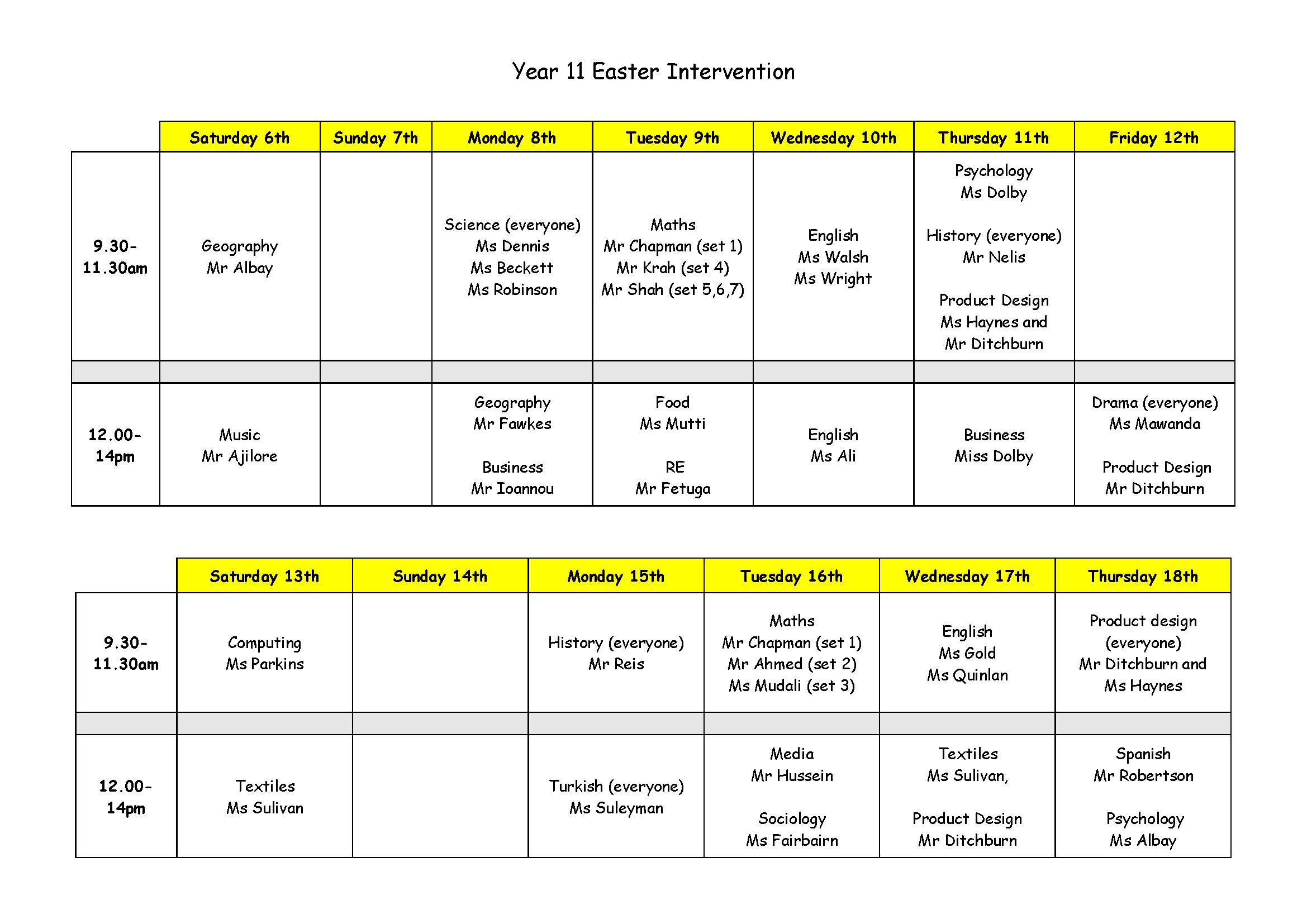 Easter Holiday Intervention Timetable